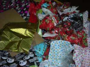 wrapping paper mess